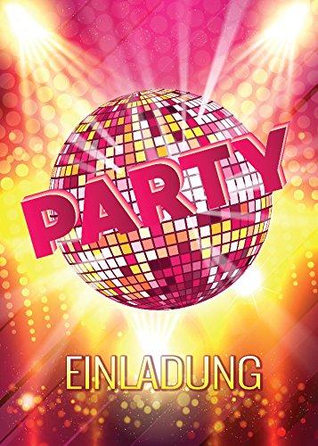 JuNa-Experten 10 Einladungskarten Geburtstag Einladungen Disco-Party Erwachsene Kinder Mädchen Jungen Kindergeburtstag Geburtstagseinladungen Kartenset Disco-Kugel