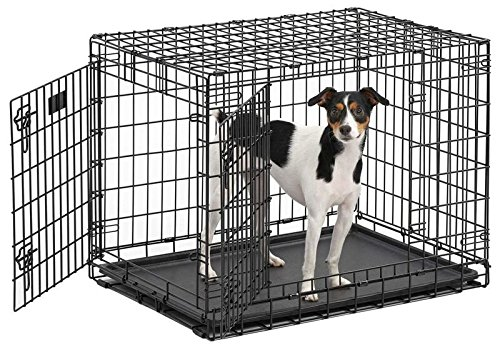 MidWest Ultima Pro (Professional Series & Most Durable Dog Crate)   Extra-Strong Double Door Folding Metal Dog Crate w/Divider Panel, Floor Protecting 'Roller Feet' & Leak-Proof Plastic Pan