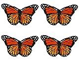 Parches Ropa Termoadhesivos Flores, Parches Bordados 4Pcs Patrón mariposa DIY Rosa Flores Coser o Planchar en Los Parches Apliques para Ropa Camiseta Jeans Sombrero Pantalon Bolsas