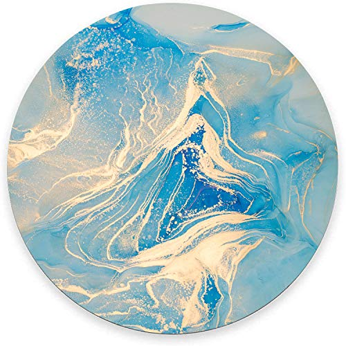 Round Mouse Pad, Light Blue Marble Mouse Pad, Modern Blue Gold Gaming Mouse Mat Waterproof Circular Small Mouse Pad Non-Slip Rubber Base MousePads for Office Home Laptop Travel, 7.9'x0.12' Inch
