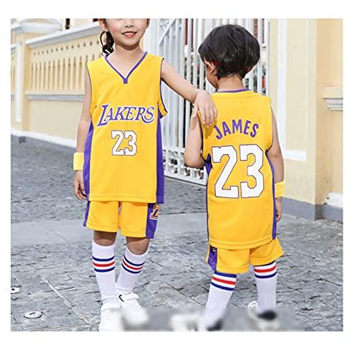 TYUK Los Angeles Lakers # 23 Lebron James, Baloncesto para niños Chaleco de Chaleco Traje,% Material de poliéster, Deportes y Fans de Ocio Jerseys Yellow-XS