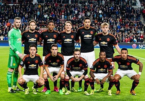 Manchester United Team De GEA, Cieco, Martial, Schweinsteiger, Smalling, Shaw, Herrera, Darmian, Mata, Young, Depay Calcio Poster 10291 (A3-A4-A5) - A3