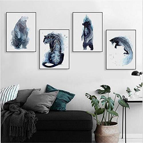 SDFSD Klassische abstrakte Tinte Stil afrikanischen Wildtier Cartoon Retro einfache Wohnkultur Wohnzimmer Wandkunst Poster Leinwand Malerei 60 * 80cm