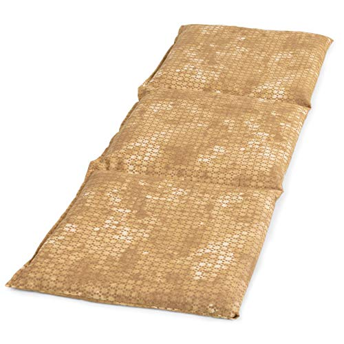 Saco térmico compartimentado en 3 con huesos de ceresas 20x50cm - Almohada térmica para microondas - Calor y frío - Cojín térmico con semillas (color: batik oro)