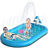 OEVES Inflatable Splash Pad Water Sprinkler Pool for Kids Toddlers Outdoor Play ,3-in-1 Upgraded Outside Water Toys for Baby ,Play Mat for 1 -12 Year Old Girls Boys,68x43in Wading Pool, Dolphin