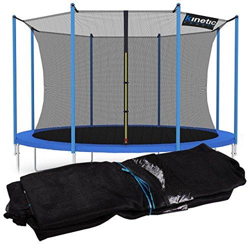 Kinetic Sports Sicherheitsnetz Trampolin Zubehör Ersatznetz für Gartentrampolin Ø ca. 400cm - Trampolin Zubehör - Trampolinnetz schwarz - UV-getestet - reißfest - Sprung-Schutz Jumper
