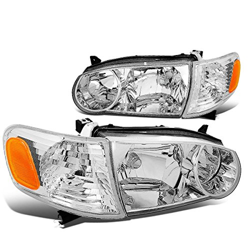 DNA MOTORING HL-OH-TCO01-CH-AM Headlight Assembly, Driver and Passenger Side,Chrome / Amber
