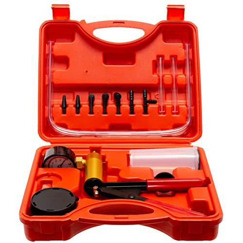 Somtton Hand Held Vacuum Pump Tester Set Vacuum Gauge & Brake Bleeder Kit Pressure Pump Kit for Automotive with Adapters