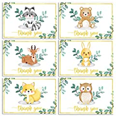 WOODLAND ANIMAL THANK YOU CARDS: Our 36 pack of blank thank you cards are a great way to say thank you to your loved ones. Our gold foil, baby shower thank you cards are made from heavyweight card stock, have a glossy finish & 6 unique woodland critt...