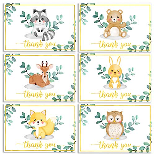 36 Pack Gold Foil Woodland Thank You Cards – Gender Neutral Baby Shower Thank You Cards, Animal Thank You Cards with Envelopes & Blank Note, Gratitude Thank You Cards & Envelopes for Appreciation
