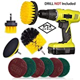 3 Piece Drill Brush + 7 Piece Scouring Pads Cleaning Kit - Electric