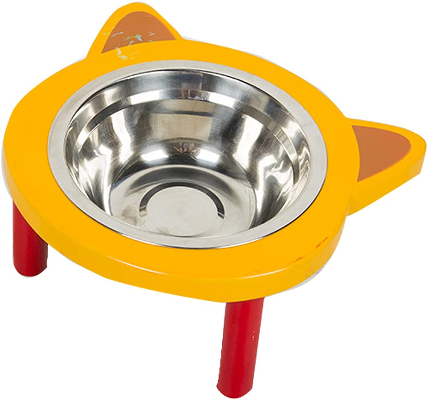Dog Bowl Cat Bowl Stainless Steel Food Bowl Cartoon Cute Pet Supplies Thickened Large Capacity Wooden Pet Bowl,Yellow