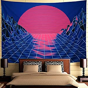 Ameyahud Sun Tapestry Mountain Tapestry Abstract Sketch Mountain River Tapestry Sunset Afterglow Landscape Tapestry for…