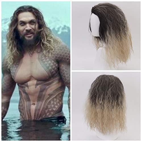 Ani·Lnc Película Liga de la justicia Aquaman peluca Aquaman Juego de rol Poseidón Cabello Cómico Cosplay Pelucas