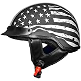 ILM Motorcycle Half Face Helmet DOT Approved Bike Cruiser ATV (Patriotic Flag, L)