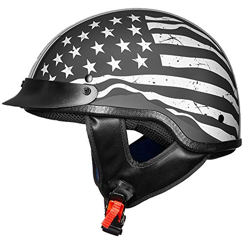 ILM Motorcycle Half Face Helmet DOT Approved Bike Cruiser ATV (Patriotic Flag, S)