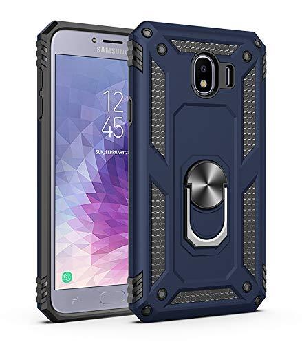Capa Samsung Galaxy J4 2018 Case Protetor Material militar TPU macio +couro de PC proteção dupla camada de metal magnético para carro Suporte 360 graus girado anti-queda e anti-riscos capa:Azul