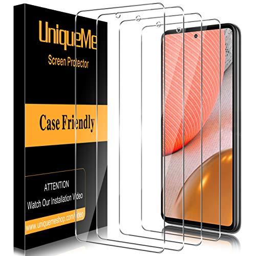 [4 Stück] UniqueMe Schutzfolie für Samsung Galaxy A72 Panzerglas,Folie für Samsung Galaxy A72 Glasfolie,[9H-Festigkeit] Bildschirmfolie HD Klar Panzerglasfolie Gehärtetes Glas
