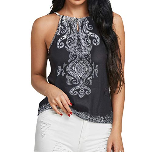 Beikoard Halter Neck Tops Mujer Imprimir Camiseta Mujer Chaleco Mangas Cortas Ocio Chaleco Mujer Largo con Capucha