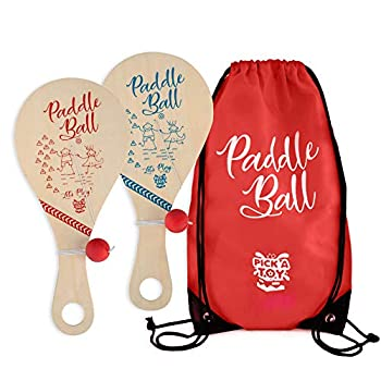 Wooden Paddle Ball  Set Of 2  With Red Carry Bag Indoor Outdoor Toy  Fun And Classic Paddleball Game For Boys And Girls Party Favor Toys Ages 4+