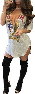 AngelSpace Womens American Flag Sexy Low Cut Deep V-Neck Shirt Mini Dress