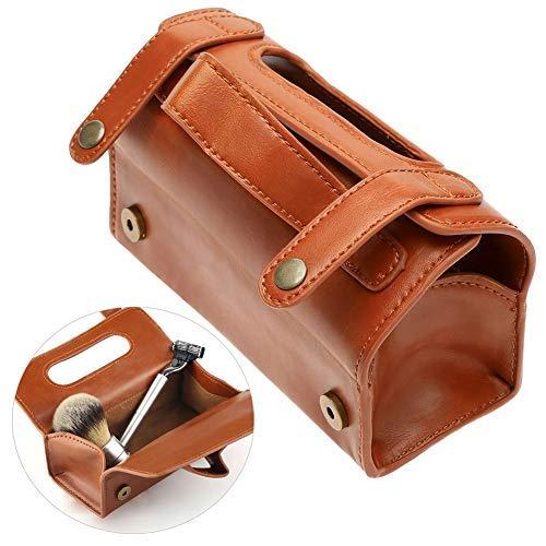 Läderväska mode bärbar sminkväska brun PU-läder rakborste & rakkniv toalettväska (brun)