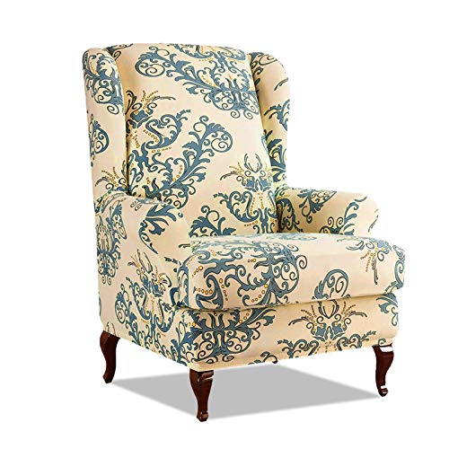 PETCUTE Sesselbezüge Ohrensessel Bezug Stretch Sesselbezug für Ohrenbackensessel Husse Passt Perfek für Ohrensessel mit Muster Blumen Grün