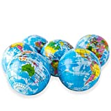Wang-Data 12 Pack | Globe-Squeeze-Stress-Ball World Stress Ball, 3' Globe Bouncy Ball Earth Squishy Ball Mini Globes of The World Party Favor