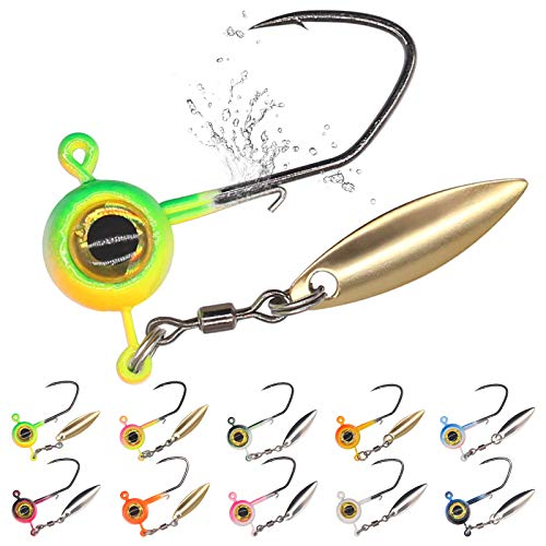 Crappie-Jig-Heads-Under-Spinner-Jigheads for Crappie Fishing Jigs Small Lead Head Jig Hook Lure kit 50 Pack 1/8 1/16 1/32 oz (Crappie Jigheads- W/Spinner-1/8 oz-50 Pack)