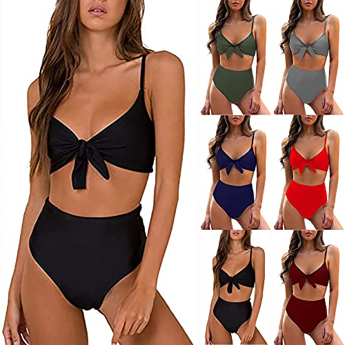 2021 Nuevo Mujer Conjuntos de Bikinis de Cintura Alta Push Up Trajes de Baño de Tanga dos piezas Sexy Mujer Color sólido Playa Conjunto de Bikini Tankinis de Nudo Corbata Beachwear Natacion Bañador