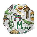Paraguas Plegable Automático Impermeable Diversión México, Paraguas De Viaje Compacto a Prueba De Viento, Folding Umbrella, Dosel Reforzado, Mango Ergonómico
