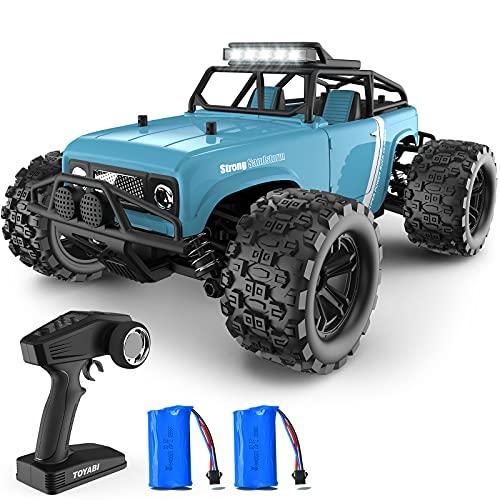 GizmoVine Coche Teledirigido , 4WD 40 KM / H 2,4 GHz Hobby Coche RC de Alta Velocidad Evitar Colisiones y Resistente al Agua , con Motor Magnético de 380 Potentes , para Niños y Adultos (Azul)
