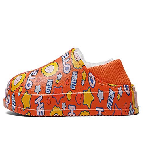 ODSHY Invierno niños Zapatillas Felpa Mantenga Zapatos cálidos para niñas niños esponjosa Baby slofjes Impermeable Muchachas niño casa Zapatos niños Pantuflas (Color : Red 21, Shoe Size : 210)