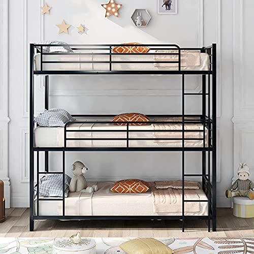 Nieuwste Triple Bed Metalen Twin-Over-Twin-Over-Twin Bed Stapelbed met 3 Ladders, Stapelbed voor Familie, Kinderen, Tieners, Geen boxspring nodig