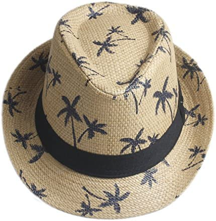 Elee Unisex Adult Summer Beach Straw Hat Fedora Trilby Men Jazz Cap Coconut Tree New Brown product image