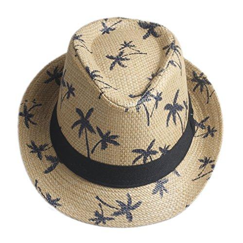Elee Unisex Adult Summer Beach Straw Hat Fedora Trilby Men Jazz Cap Coconut Tree New (Brown)