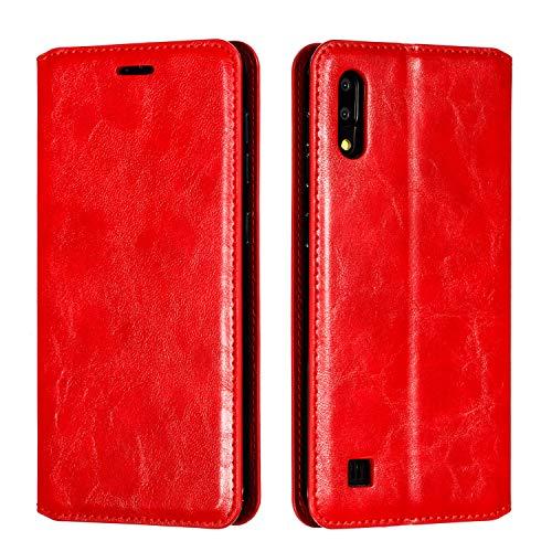 Docrax Galaxy A10 / M10 Handyhülle, Hülle Leder Case mit Standfunktion Magnetverschluss Flipcase Klapphülle kompatibel mit Samsung Galaxy A10/M10 - DOYTE020177 Rot