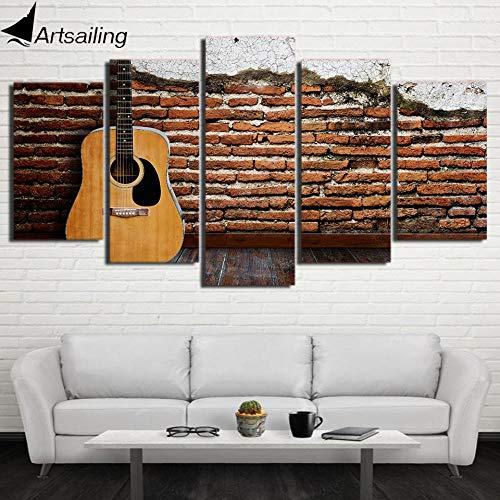 Preisvergleich Produktbild YIMENGSX HD Printed 5 Piece Canvas Art Classical Guitar Painting Modular Vintage Wall Pictures for Living Room CU-2492C, Framed, Size 1