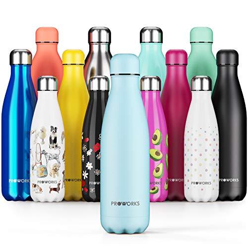 Proworks Edelstahl Trinkflasche | 24 Std. Kalt und 12 Std. Heiß - Vakuum Wasserflasche - Perfekte Isolierflasche für Sport, Laufen, Fahrrad, Yoga, Wandern und Camping - 1 Liter - Puristisches Blau