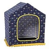 キャンバスの犬小屋、子犬の猫のためのサイドポケット付き洗えるペットハウス犬のクッションベッドの巣の取り外し可能なカバー