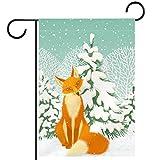Gartenhof Flagge doppelseitig /12x18inch/ Polyester Welcome House Flag Banner,Fuchs Tanne Schnee