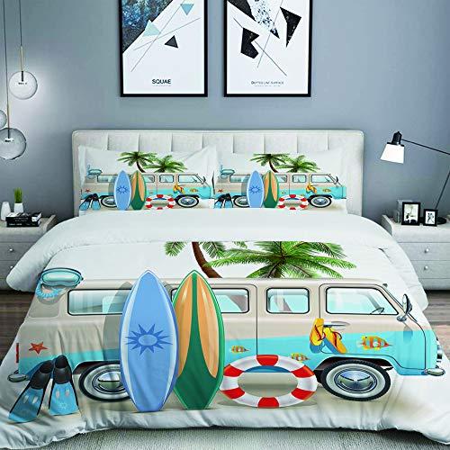 MOBEITI Bedding Juego de Funda de Edredón,Concepto de Fin de Semana de Surf con Elementos de Buceo Aletas Snorkel y Van Trip Relax Peace,Microfibra Funda de Nórdico y Fundas de Almohada - 140 x 200cm