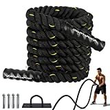 Battle Ropes for Exercises - 30ft Workout Rope with Anchor, Crossfit Rope for Core Strength Training Equipment, Gym, Home Workout , Fitness Exercise