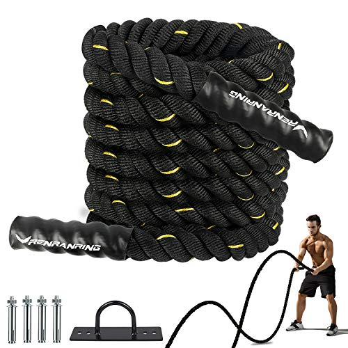 Battle Ropes for Exercises - 30ft Workout Rope with Anchor,...