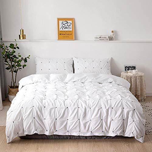 Chytaii Juego de ropa de cama blanco con pliegues, funda nórdica de 200 x 200 cm y 2 fundas de almohada de 50 x 75 cm, funda nórdica con cremallera, microfibra, 3 piezas, color blanco