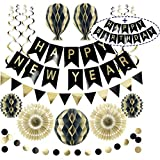 Reusable Party Decorations | New Years Eve Party Decorations 2021 | Birthday Decoration Set | Birthday Banner Spells Happy Birthday Happy New Year +More | New Year Decorations 2021
