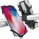 Bone 自転車 スマホ ホルダー 携帯ホルダー 超軽量 全シリコン製 脱着簡単 脱落防止 4-6.5インチのスマホに対応 iPhone 11 Pro Max XS XR X 8 7 6S Plus Xperia ZX3 Galaxy S10 S9 S8 note 9 Pixel 3 XL TorqueG03 / Bike Tie 2 ハンドル型 【日本正規総代理店】 ブラック