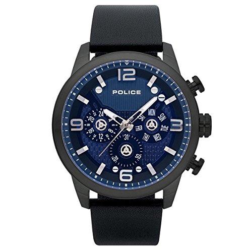Police Herren Multi Zifferblatt Quarz Uhr mit Leder Armband PL15415JSU.03