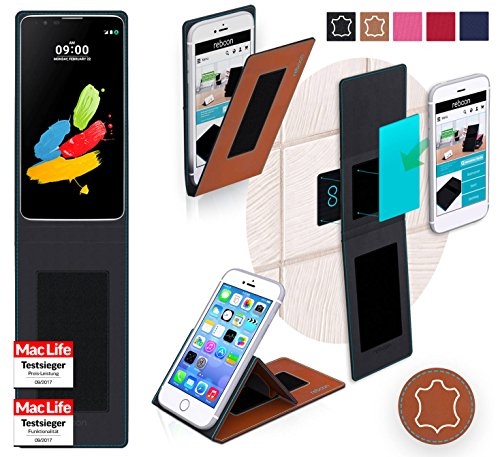 reboon Hülle für LG Stylus 2 (DAB+) Tasche Cover Case Bumper | Braun Leder | Testsieger