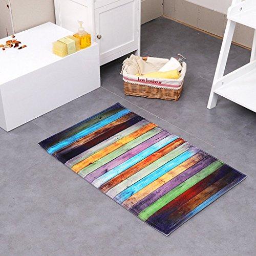 JamesStyle26 Joli tapis antidérapant et à séchage rapide - Tapis de sol / de bain / de douche / de cuisine, Polyester, Bunte Streifen, 40 x 60 cm